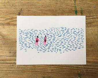 Wild swimmers riso print