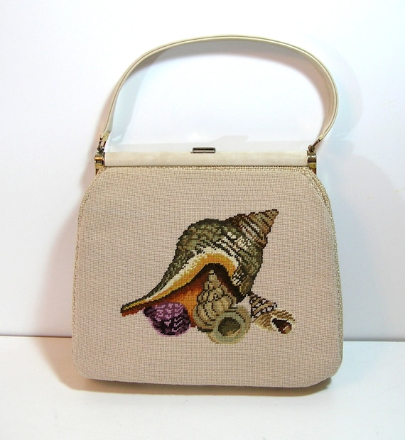 Vintage Needlepoint Purse With Seashell Design, Gr