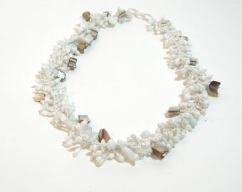 White Seedbead and Seashell Necklace, Beaded Coral Design