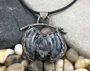Larvikite carved bat pendant / carved stone bat silver pendant / hanging bat pendant / bat on a silver branch / grey stone pendant /sterling