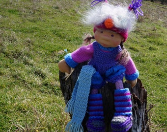 "Waldorf knitted doll Pela 15"""