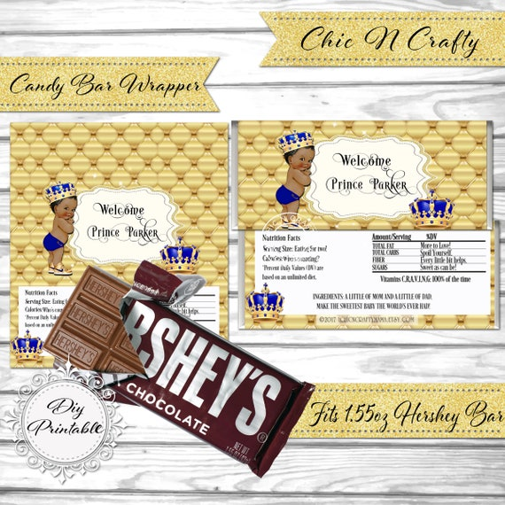 image about Free Printable Baby Shower Candy Bar Wrappers identified as Do it yourself PRINTABLE Boy or girl Boy Prince Sweet Bar Wrapper Little one