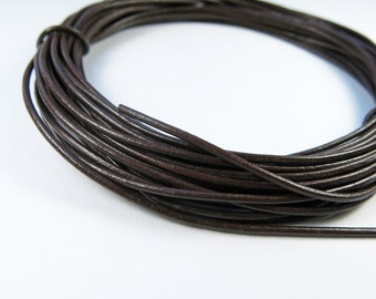 Leather Cord 2mm - 10 Yards, Black or Brown