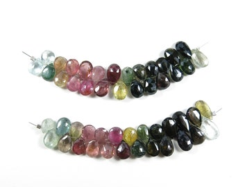 Multi Tourmaline Briolettes - Large 8-12mm Faceted Multicolor Gemstone Drops, 25 Beads
