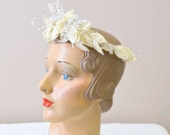 1980s Beaded Bridal Headpiece