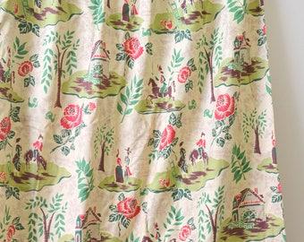 1940s Folk Print Cotton Curtain Panels, Set of 2 Panels, 4+ Yards