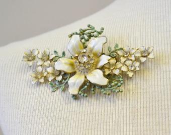 1940s Sandor Large Enamel Flower Brooch