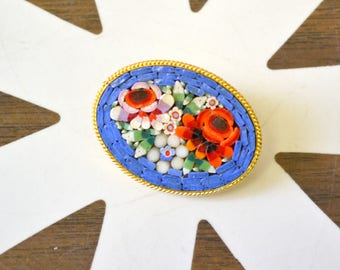 1950s Oval Floral Micro Mosaic Brooch