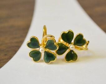1950s Lucky Four Leaf Clover Screw Back Earrings