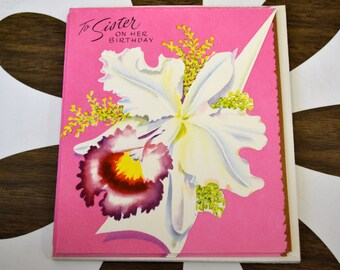 1950s NOS Sister Orchid Birthday Card with Envelope