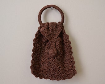 1940s Brown Crochet Mini Purse