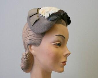 1950s Feather Half Hat d85b8c09e63