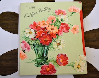 1950s NOS Floral Birthday Card with Envelope