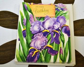 1950s NOS Iris Birthday Card with Envelope