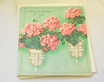 1950s NOS Geranium Birthday Card with Envelope