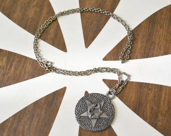1970s Pisces Zodiac Pewter Pendant and Chain