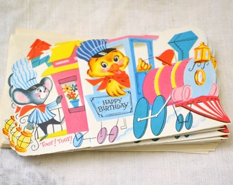 1950s NOS Animal Train Birthday Card with Envelope