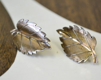 1950s Sterling Leaf Screw Back Earrings