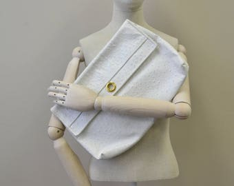 1980s White Leather Oversized Clutch Purse