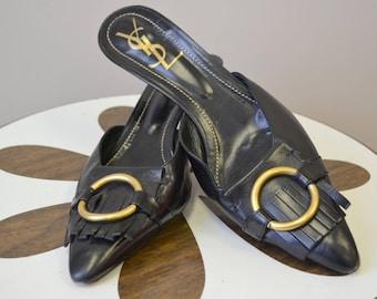1990s Yves Saint Laurent Black Leather Kitten Heels, Size 41