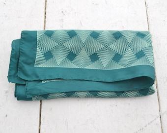 1970s Teal Geometric Silk Scarf