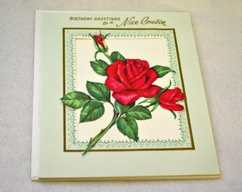 1950s NOS Cousin Birthday Card with Envelope