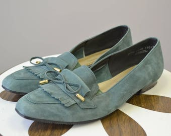 1980s Sage Green Suede Loafers, Size 11 1/2