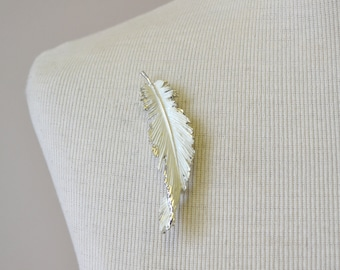 1960s White Feather Brooch