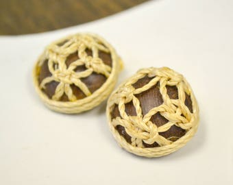 1960s Rope Knot and Wood Clip Earrings