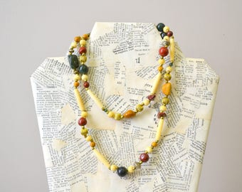 1970s Brass and Stone Bead Necklace