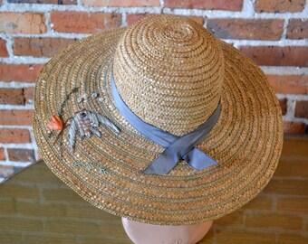 69f661c57aac4 1940s Fish Novelty Straw Sun Hat
