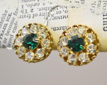 1940s Coro Rhinestone Clip Earrings