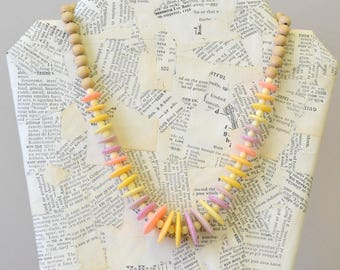 1980s Pastel Bead Necklace