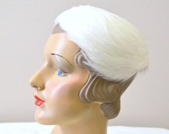 1950s Anne Dinken White Feather Hat