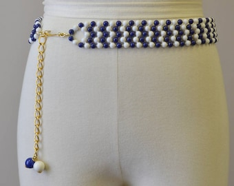 1960s Blue and White Chevron Beaded Belt