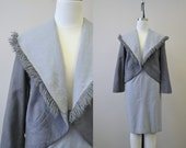 1950s Gray Wool Skirt Suit with Fringed Jacket