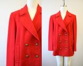 1980s Mackintosh Red Wool Pea Coat