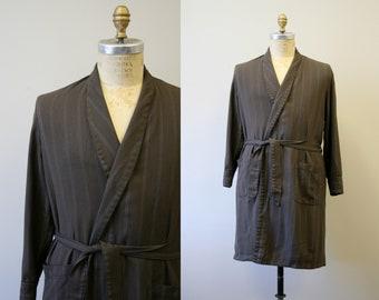 1960s Men s Brown Cotton Striped Robe f9199ad0b