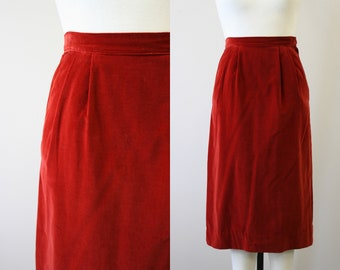 5240603e9 1950s Eton Deep Red Velvet Skirt