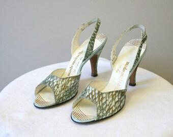 fbef8bb6c30f5 1950s Mademoiselle Peep Toe Slingback Heels