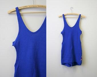 bd3097845d Early 1930s Jantzen Men's Blue Wool Swim Suit