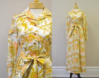 1960s California Calliope Autumnal Floral Maxi Dress