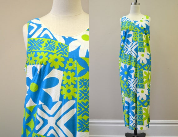 1960s Alice Polynesian Daisy Print Maxi Dress