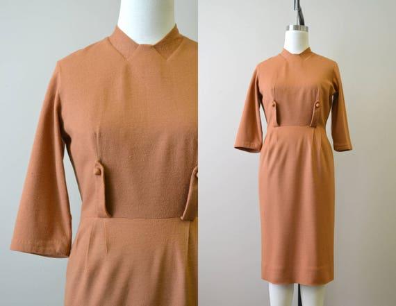 1950s Minx Modes Pumpkin Spice Wool Wiggle Dress
