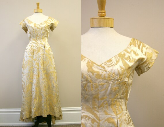 1950s Gold and Cream Brocade Evening Gown