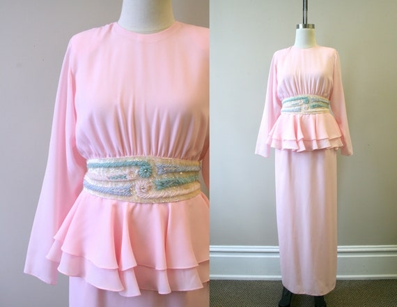 1980s Miss Elliette Pink Chiffon Dress