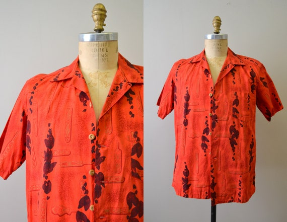 1950s Kamehameha Red Cotton Hawaiian Shirt - image 1