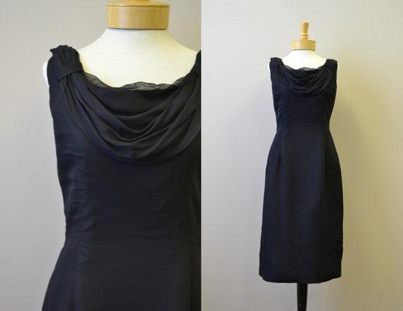 1950s Melbray Black Chiffon Wiggle Dress - image 1