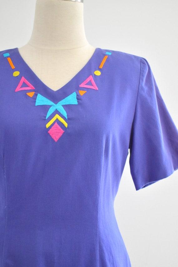 1990s Purple Geometric Embroidered Dress - image 2