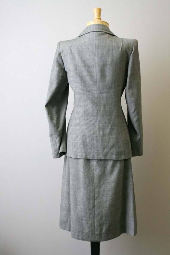 1940s Brown Mini Houndstooth Wool Skirt Suit - image 5